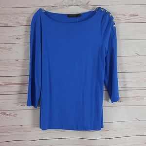 The limited button sleeve cobalt blue top